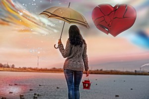 The sad woman with the broken heart,autumn depression